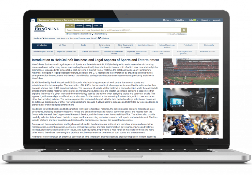 Laptop showing Business and Legal Aspects of Sports and Entertainment, a database for sports and entertainment law