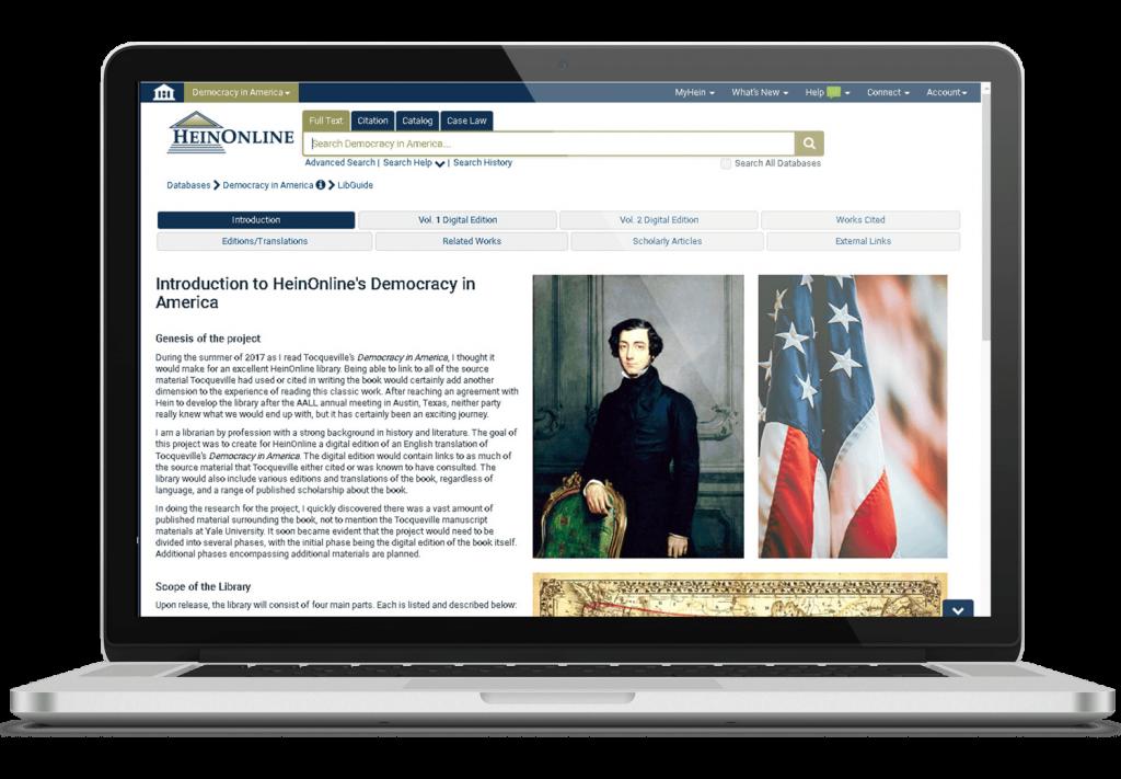 Laptop displaying Democracy in America landing page in HeinOnline