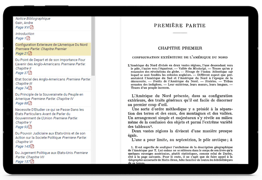 Tablet showing another translation in HeinOnline's Democracy in America.