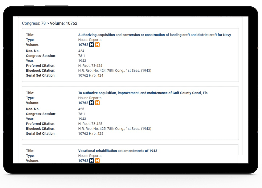 Tablet showing HeinOnline's availability indicators in the digitized Serial Set.