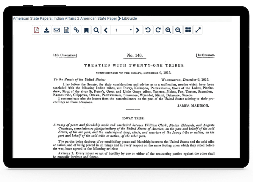 Tablet showing searchable image-based PDFs in HeinOnline's digitized Serial Set