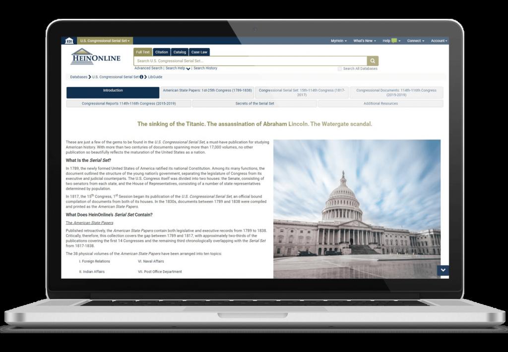 Laptop featuring HeinOnline's U.S. Congressional Serial Set interface