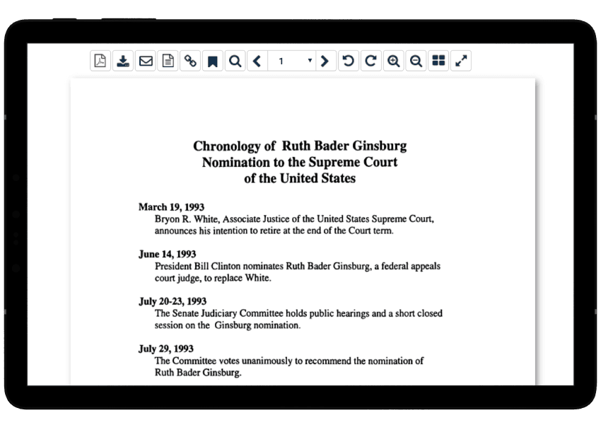 Nomination of Justice Ruth Bader Ginsburg