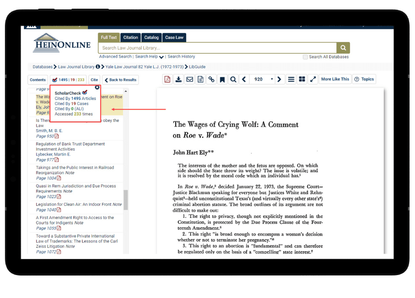 ScholarCheck tool in HeinOnline's Law Journal Library, a collection of online scholarly journals.