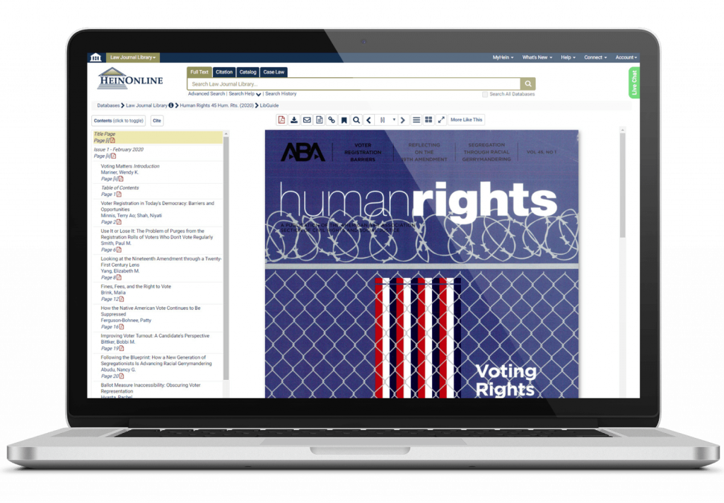 Laptop featuring HeinOnline's Law Journal Library, a collection of online scholarly journals.