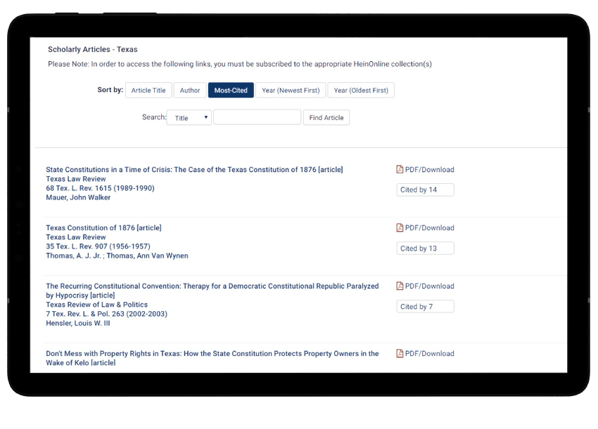 Scholarly articles in HeinOnline's State Constitutions Illustrated.