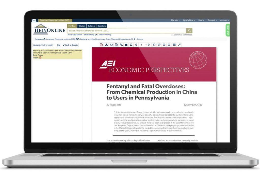 Laptop featuring HeinOnline's American Enterprise Institute database