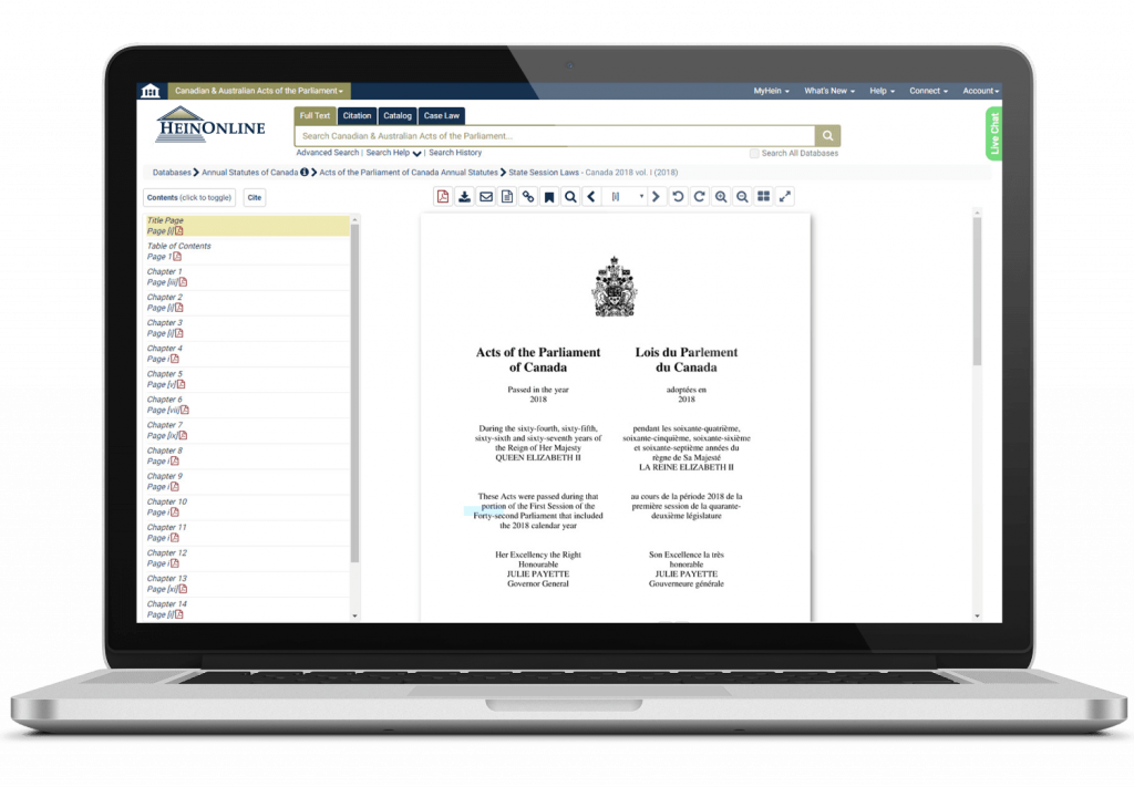 Laptop showing HeinOnline's Australian and Canadian Acts of the Parliament and Revised Statutes of Canada