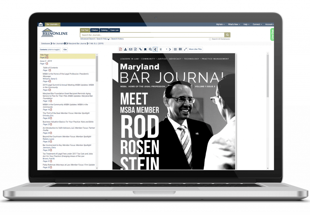 Laptop showing HeinOnline's Bar Journals Library interface
