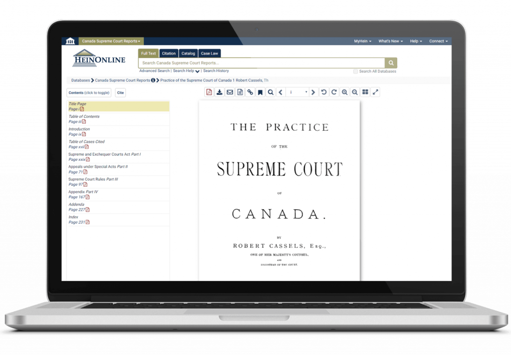 Laptop showing HeinOnline's Canada Supreme Courts interface.