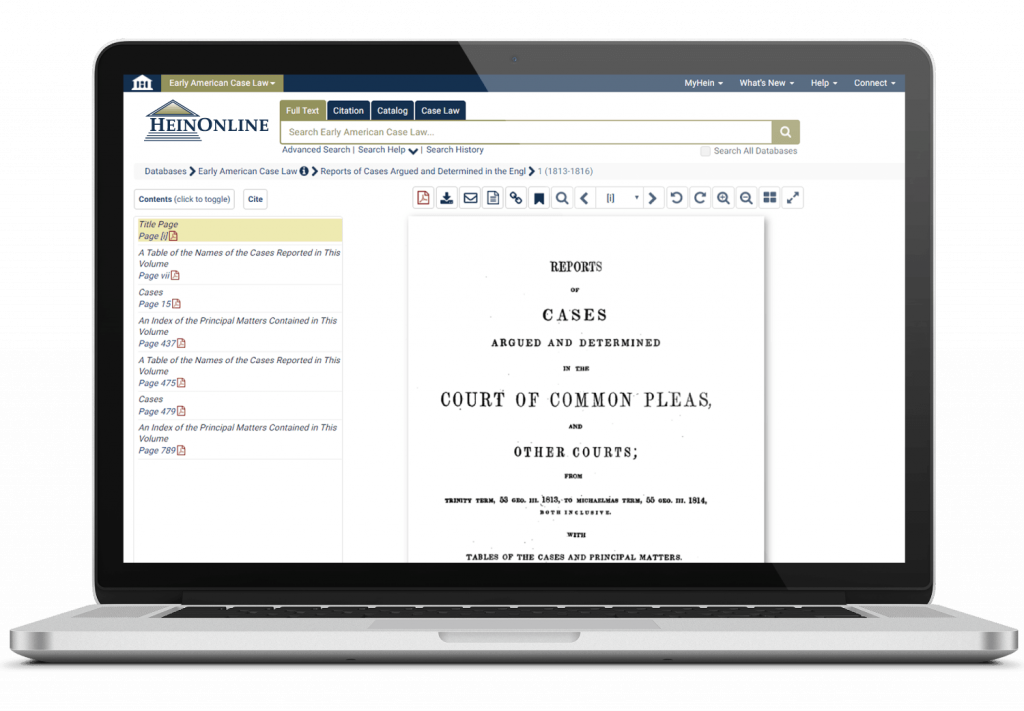 Laptop featuring HeinOnline's Early American Case Law database