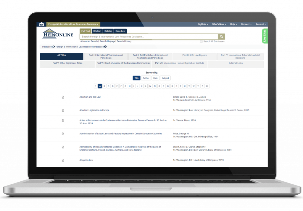Foreign & International Law Resources Database Interface on Laptop