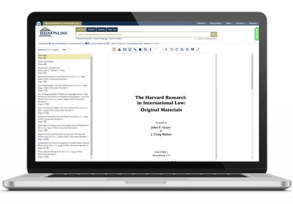 Harvard Research in International Law interface
