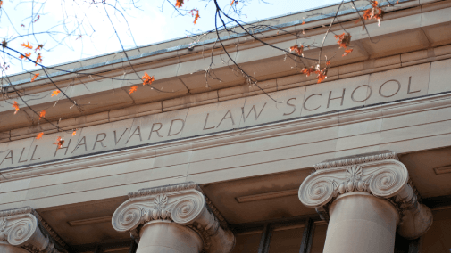 Harvard law school building with columns