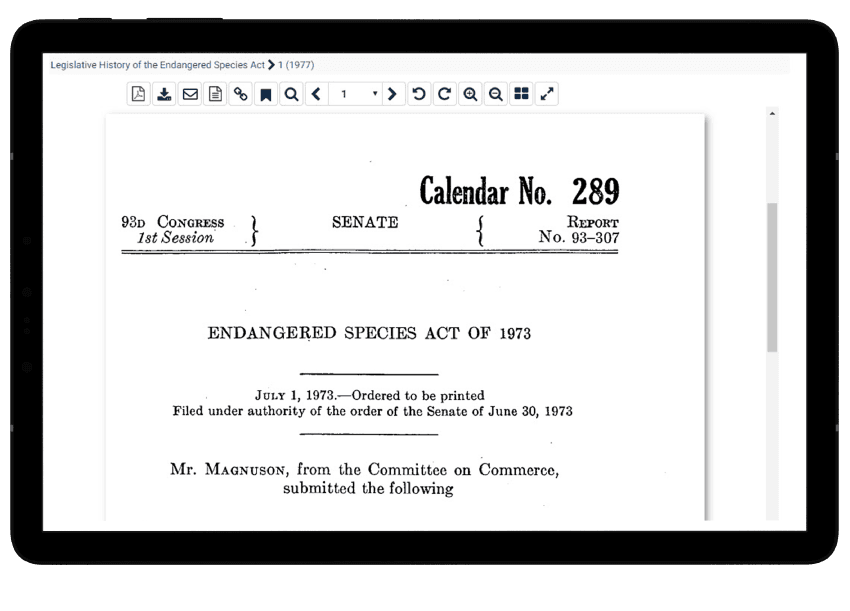 Tablet showing legislative histories related to animal studies