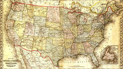 Antique map of the United States of America.