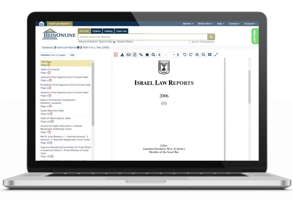Israel Law Reports on a laptop screen