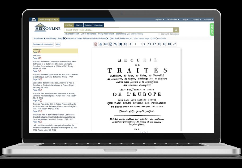 World Treaty Library Laptop Image