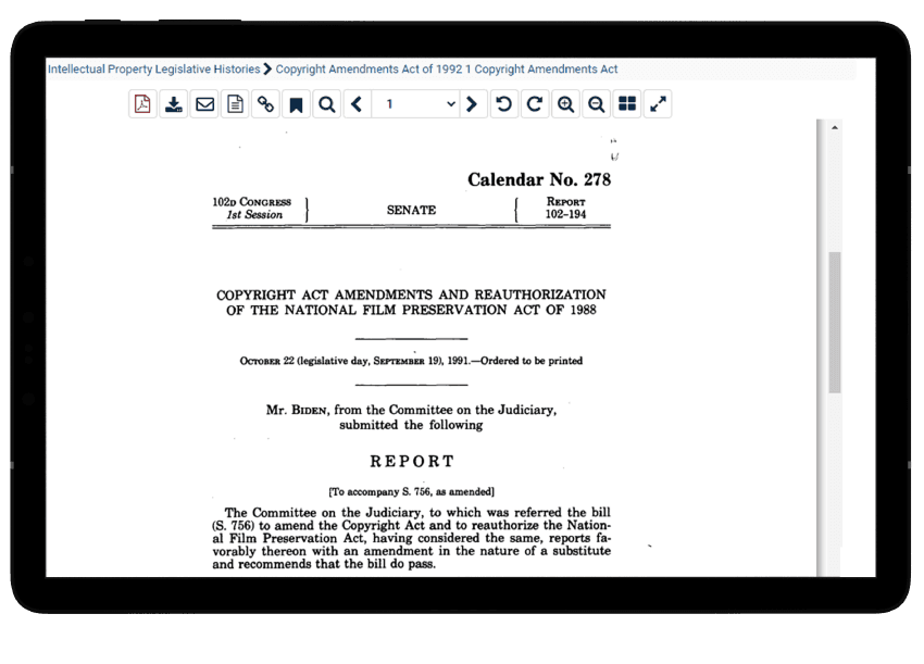 Legislative History on Patents and Copyright