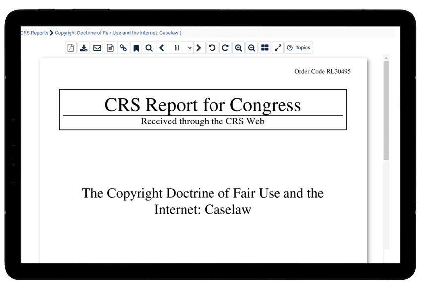 Tablet view of a CRS Report on patents and trademarks