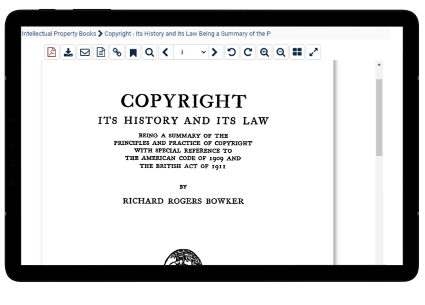 Tablet view of a book on copyright