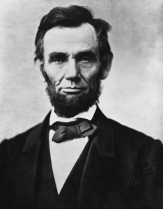 Black and white portrait of Abraham Lincoln