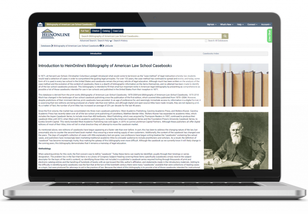 Bibliography of American Law School Casebooks interface on laptop