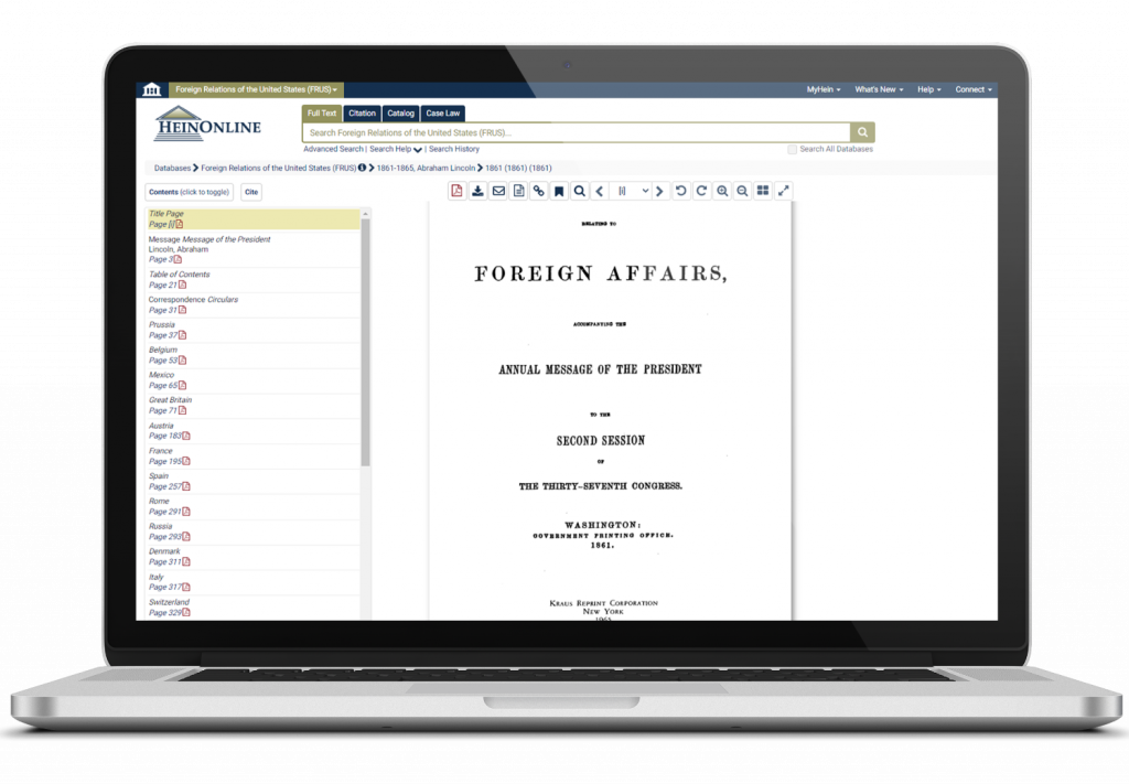 Foreign Relations of the United States interface on a laptop