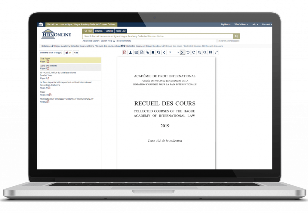 Hague academy collected courses online interface on laptop