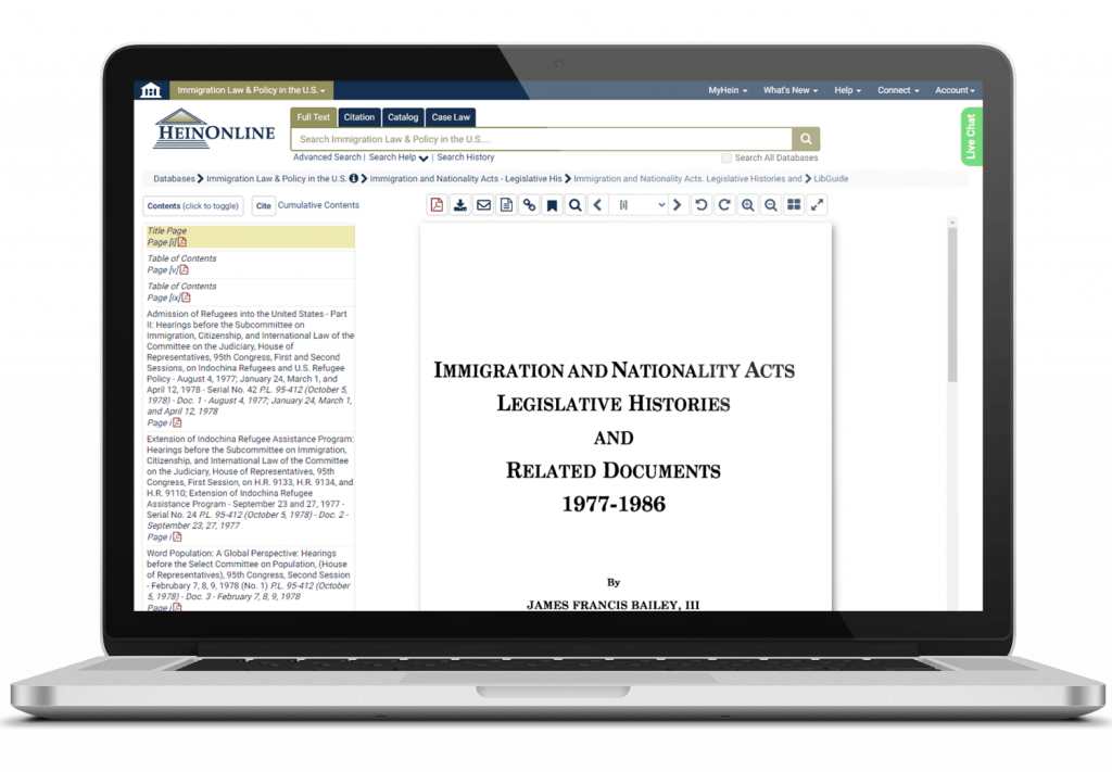 Immigration Law & Policy in the U.S. interface on laptop