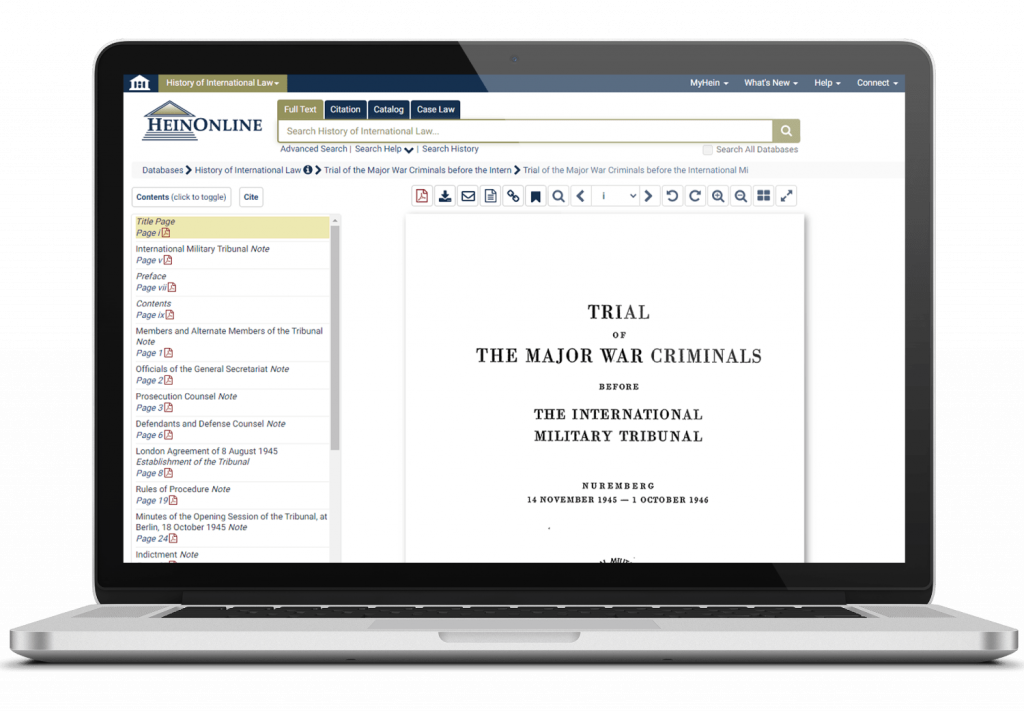History of International Law Interface on Laptop