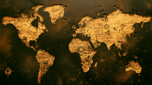 Yellow and brown map of the world