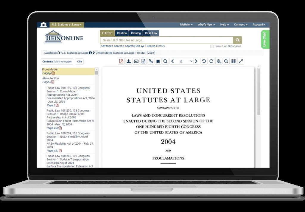 United States Statutes at Large file shown on laptop