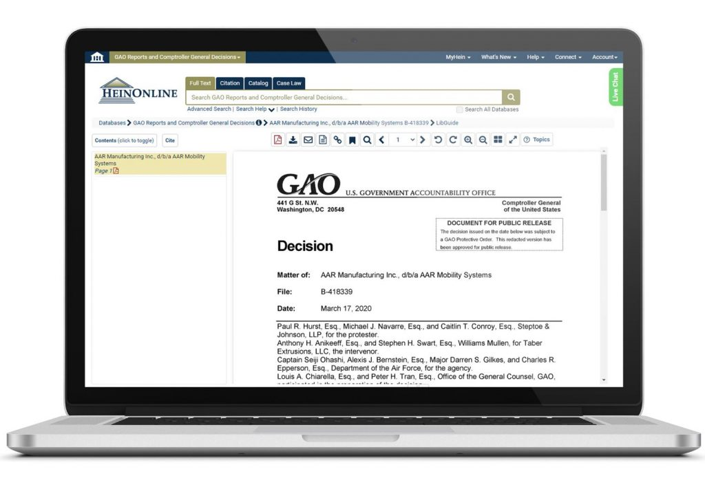 GAO Database Laptop Screenshot