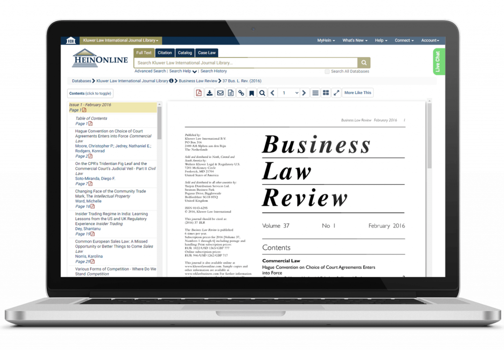 Kluwer Law Journal view on a laptop