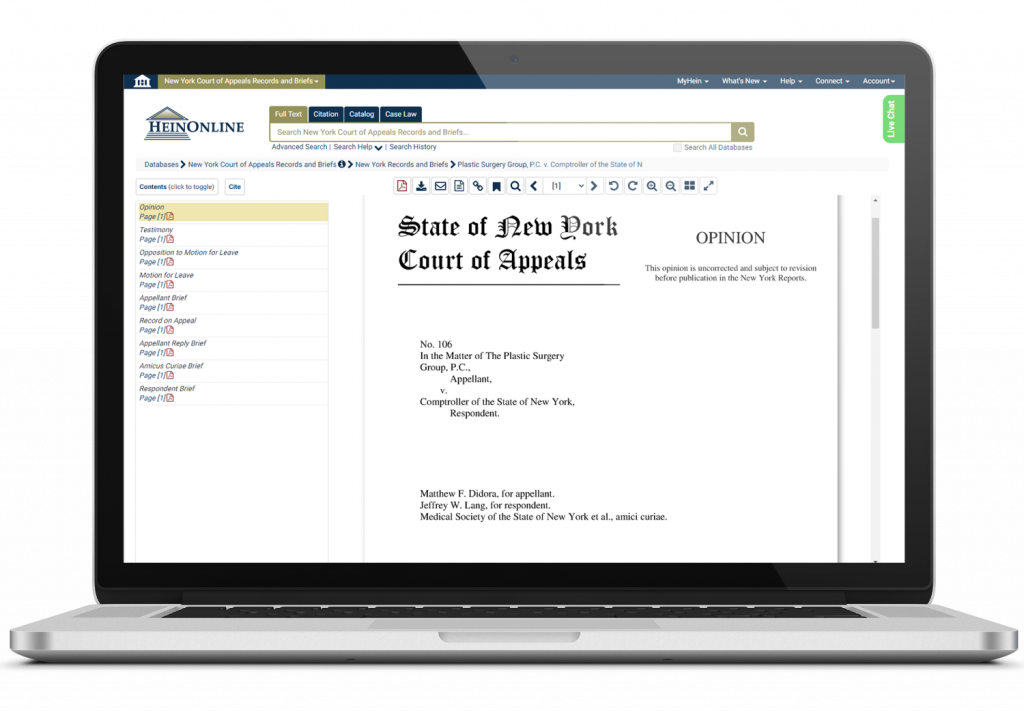 New York Court of Appeals Database Screenshot