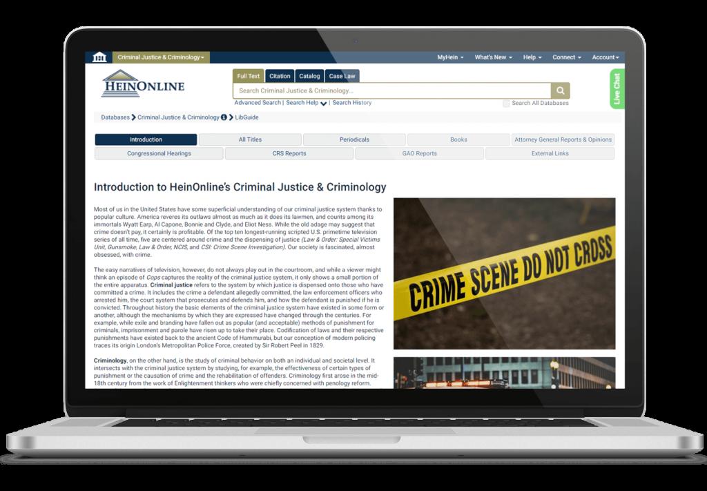 Criminal Justice & Criminology interface on laptop