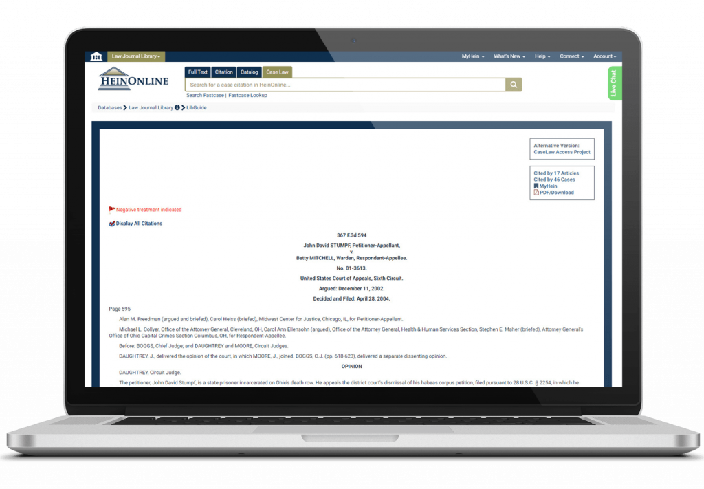 Fastcase case law database in HeinOnline on laptop