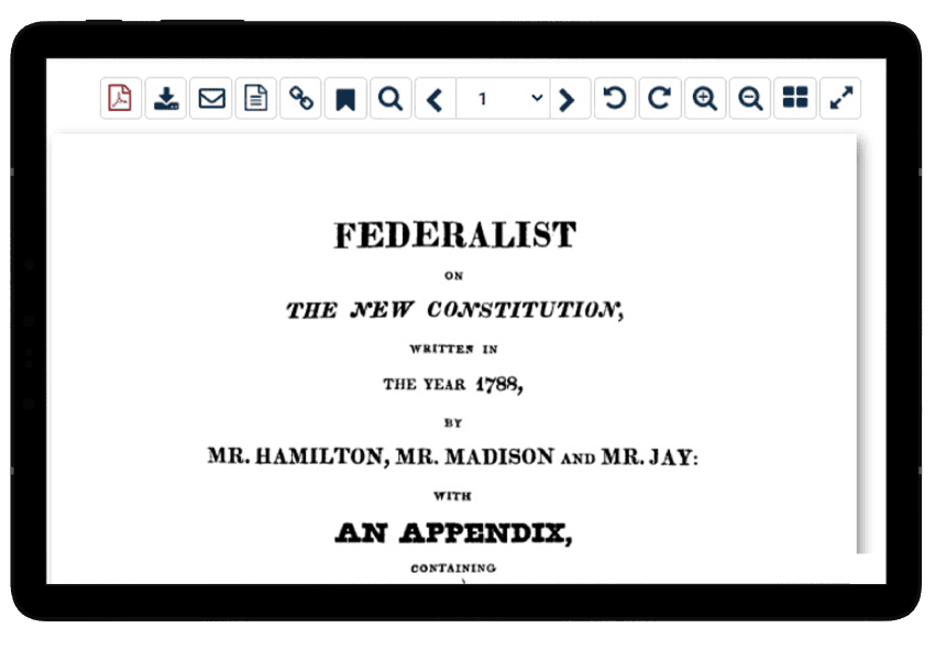 Classic book, the federalist papers, in World Constitutions Illustrated