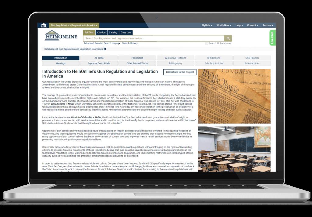 Gun regulation and legislation in America database on laptop