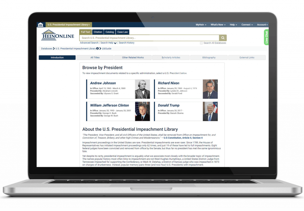 Impeachment library interface in HeinOnline