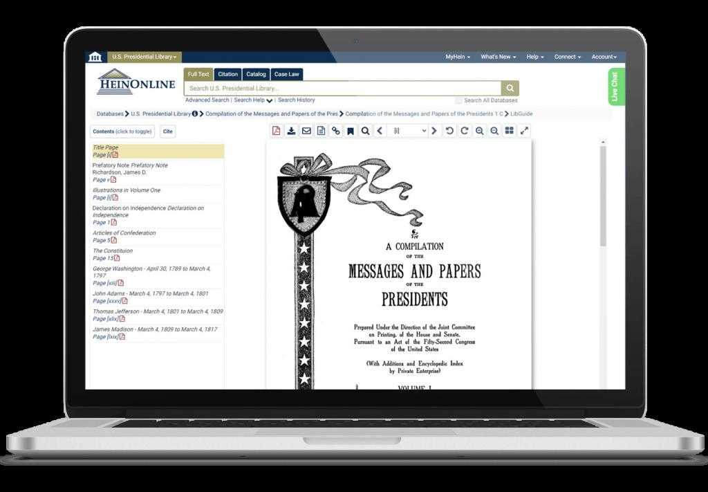 Presidential documents in HeinOnline's U.S. Presidential Library
