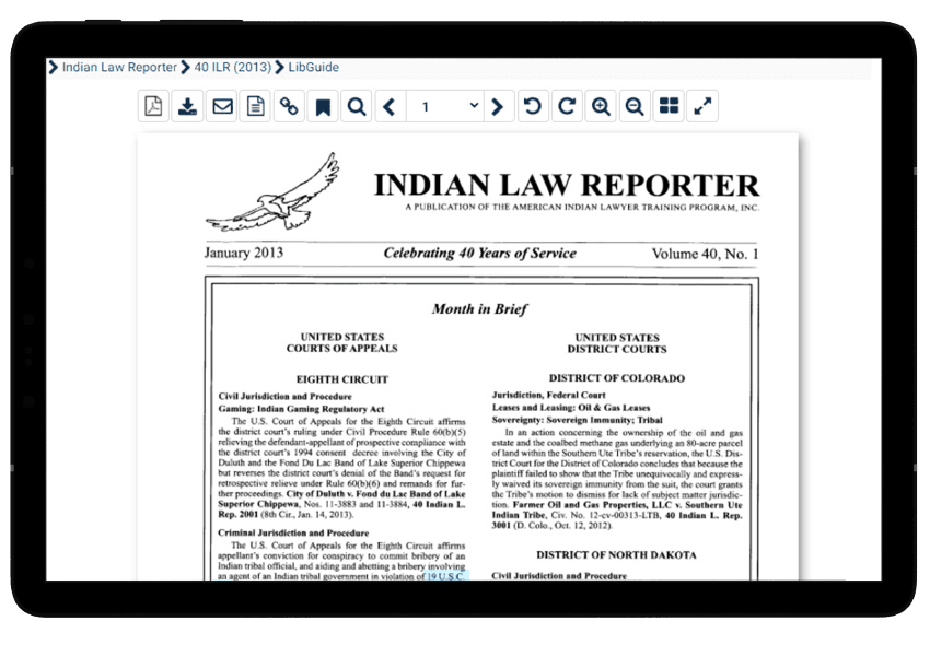 Indian Law Reporter in HeinOnline's American Indian Law Collection