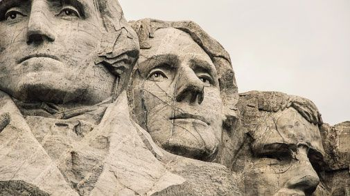 Busts of U.S. presidents carved in stone