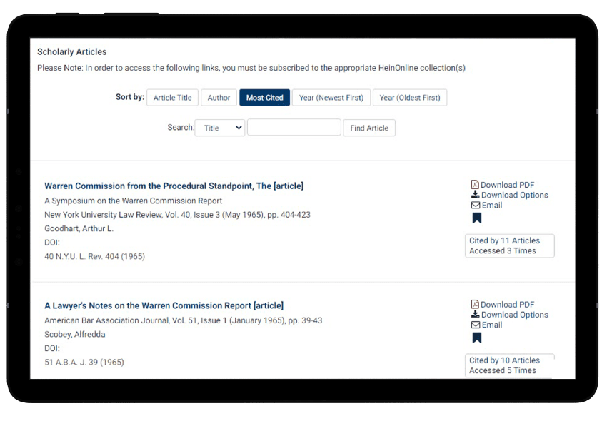 Scholarly articles in Reports of U.S. Presidential Commissions database