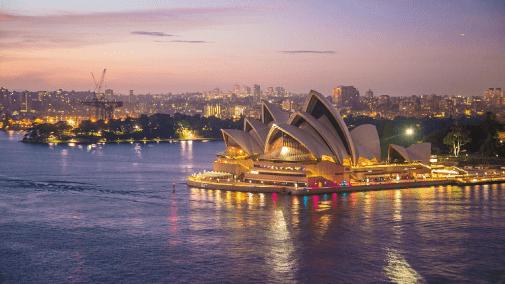 Skyline view of Australia with Sydney Opera House