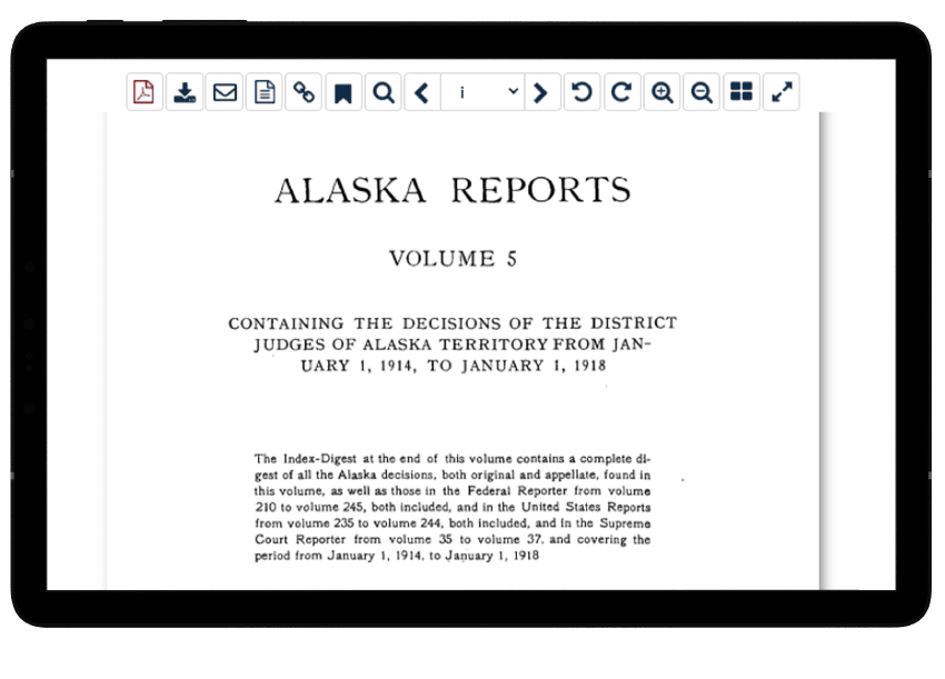 Alaska State Reports document on a tablet