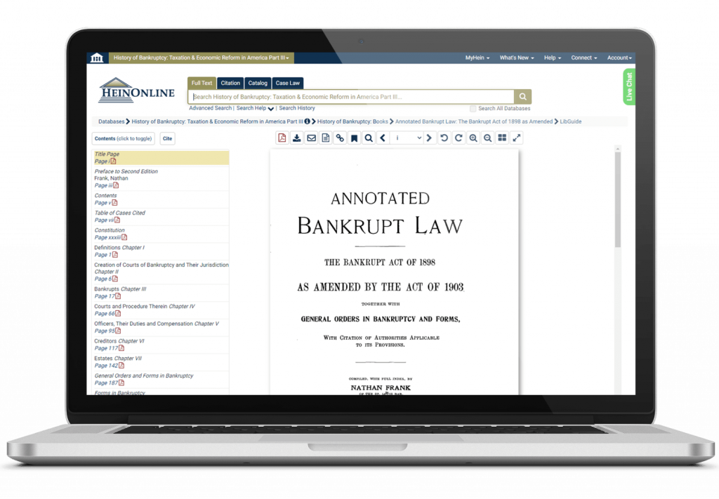 History of Bankruptcy interface in HeinOnline on laptop