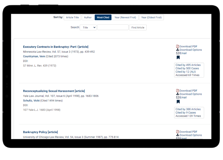Books and scholarly articles in HeinOnline's History of Bankruptcy