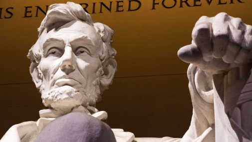 Close up of Lincoln statue in Lincoln memorial